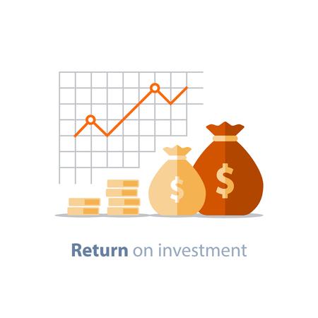 Finance graphique de la productivité, graphique de retour sur investissement, planification budgétaire, concept de dépenses, rapport de comptabilité, croissance du revenu, tableau de bord statistique, icône plate de vecteur. Vecteurs
