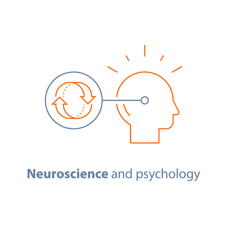 Neuroscience and psychology, bias concept, emotional intelligence, mindset, decision making, habit cycle, obsessive thinking, vector line icon, thin stroke.