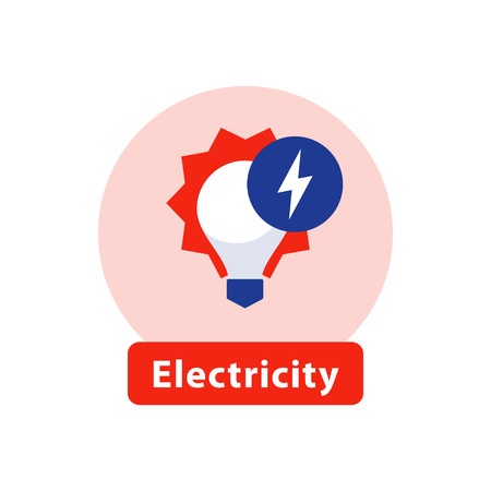 Electricity services, installation and maintenance, outage and blackout, energy efficient light bulb, high voltage sign, vector icon, flat illustration Illustration