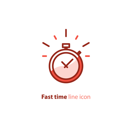 Fast time logo, stop watch speed concept, quick delivery, express and urgent services, deadline and delay, vector line icon Иллюстрация