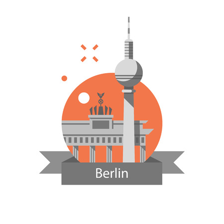 Germany travel destination, Berlin symbol, Brandenburg gate and tower, famous landmark, tourism concept, vector icon, flat illustration