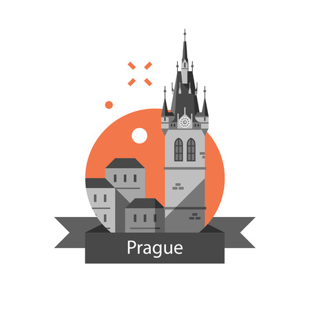 Czech Republic travel destination, Prague symbol, old town, tower with clock and group of houses, famous landmark, tourism concept, European country, historic architecture, vector icon, illustration