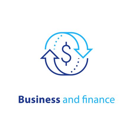 Cambio valuta, cash back, prestito rapido, rifinanziamento ipotecario, rimborso, concetto assicurativo, gestione fondi, soluzione aziendale, servizio finanziario, utile sul capitale investito, borsa, icona linea vettoriale Vettoriali