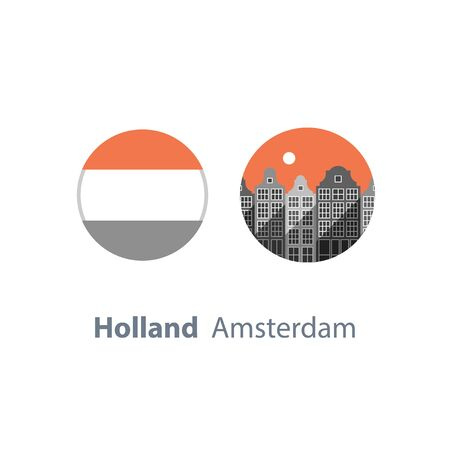 Holland travel destination, Amsterdam row of houses, cityscape, urban architecture, neighborhood skyline, tourism in Europe, round flag, vector icon, flat illustration