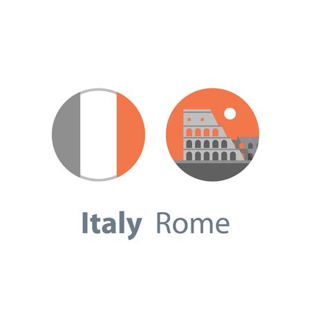 Italy, Rome symbol, travel destination, famous landmark, Colosseum view, tourism concept, round Italian flag, vector icon, flat illustration