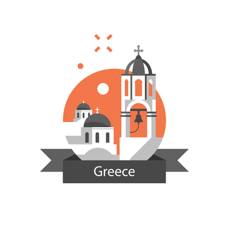 Greece travel destination, Santorini symbol, white and blue houses with dome roof stylized concept, bell tower, Greek culture and architecture, famous landmark, tourism in Europe, vector flat icon