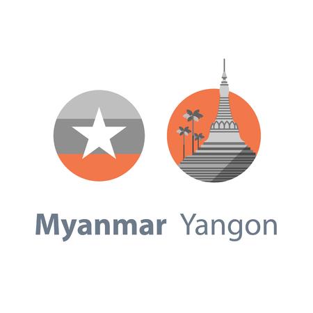 Myanmar travel destination, Yangon symbol, Shwedagon pagoda, tourism concept, culture and architecture, famous landmark, round flag, vector icon, flat illustration Иллюстрация
