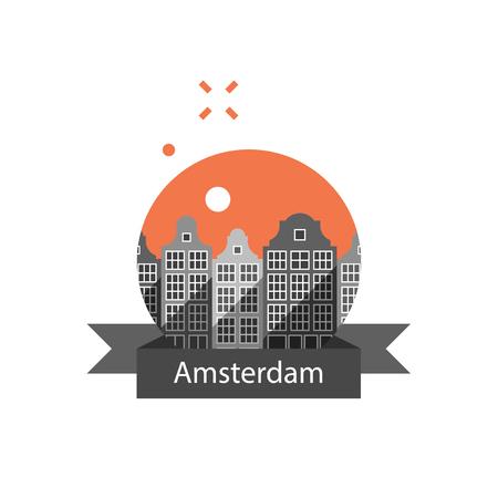 Holland travel destination, Amsterdam row of houses, cityscape, urban architecture, neighborhood skyline, tourism in Europe, vector icon, flat illustration 일러스트