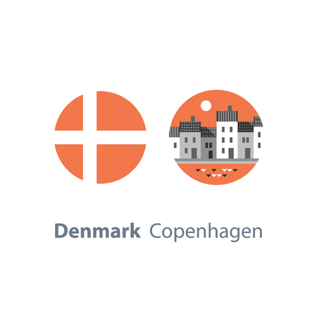 Denmark travel destination ucons. Copenhagen row of houses by water, Nyhavn street with canal, famous landmark, old town, tourism in Europe, danish architecture, round flag, vector icon, flat illustration. Stock Illustratie