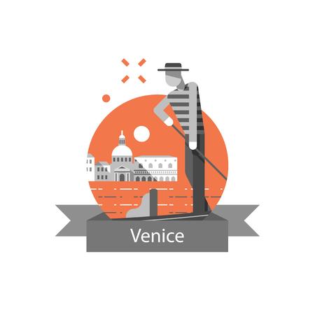 Symbol Italiens, Venedigs, Reiseziel, berühmter Markstein, Gondel und Mann im Hut, Vektorikone, flache Illustration