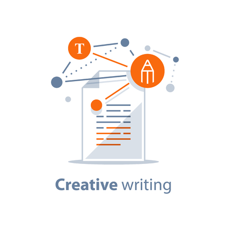 Summary reading, brief report, assignment concept, storytelling and copywriting, creative writing, grammar review, contract terms and conditions, education test, exam preparation, vector icon