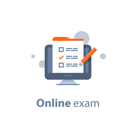 Online exam, checklist and pencil, taking test, choosing answer, questionnaire form, education concept, vector flat illustration
