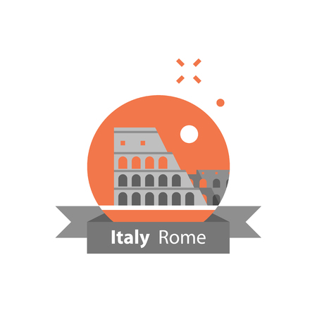 Italy, Rome symbol, travel destination, famous landmark, Colosseum view, tourism concept, vector icon, flat illustration