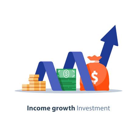 Tabla de crecimiento de ingresos, servicios bancarios, gráfico de informe financiero, icono plano de retorno de la inversión, planificación presupuestaria, fondo mutuo, cuenta de ahorro de pensiones, tasa de interés.