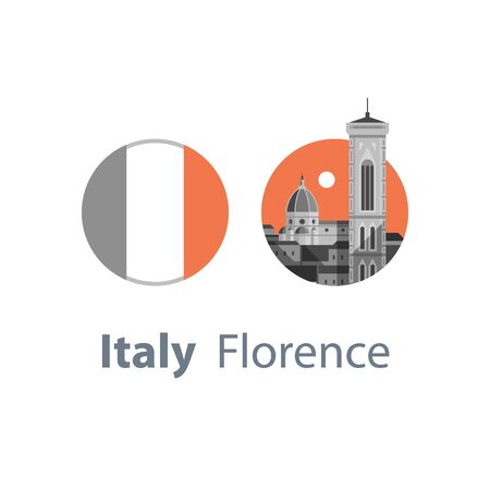 Italy, Florence symbol, travel destination, famous landmark, cathedral and tower view, Italian flag, tourism concept, vector icon, flat illustration Çizim