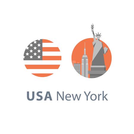 New York symbol, travel destination, famous landmark, statue of liberty, United States of America, English education concept, American language learning, vector icon, flat illustration Stock Vector - 95290826