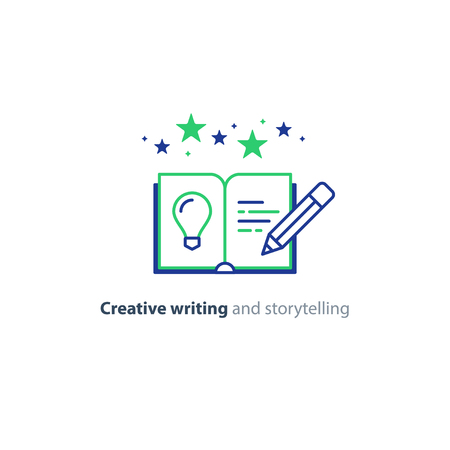 Creative writing concept, storytelling, content management, assay composition.