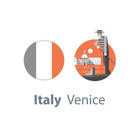 Italy, Venice symbol, travel destination, famous landmark, gondola and man in hat, Italian flag, vector icon, flat illustration Иллюстрация