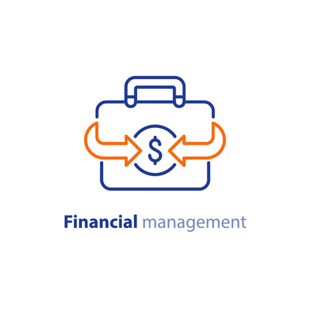 Financial services briefcase with dollar sign icon