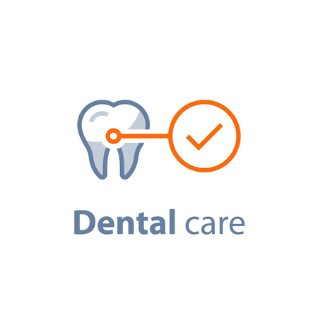 Dental care, prevention check up, hygiene and treatment, stomatology services, vector icon set.