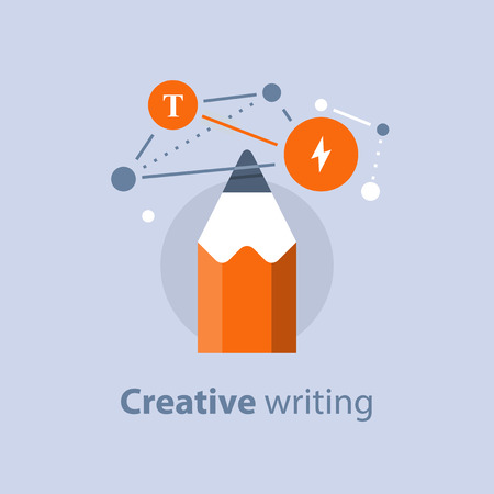 Creative writing, concept with pencil vector  flat icon illustration