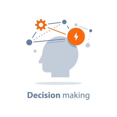 Decision making, emotional intelligence, positive mindset, psychology and neurology, social skills, behavior science, creative thinking, human head, learning concept, vector icon, flat illustration. Иллюстрация