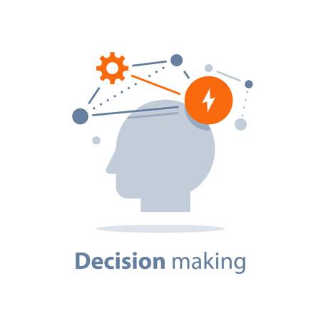 Processo decisionale, intelligenza emotiva, mentalità positiva, psicologia e neurologia, abilità sociali, scienza comportamentale, pensiero creativo, testa umana, concetto di apprendimento, icona di vettore, illustrazione piatta.