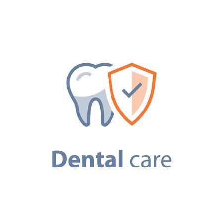 Cure dentistiche, controllo di prevenzione, igiene e trattamento, servizi di stomatologia, set di icone vettoriali