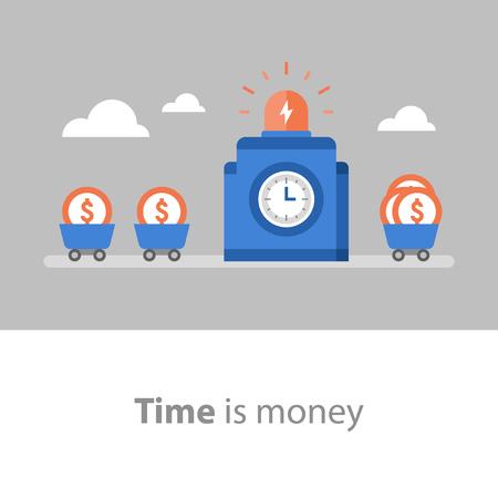 El tiempo es dinero, a largo plazo, gestión de fondos, retorno de la inversión, recaudación de fondos, aumento de ingresos, crecimiento de beneficios, tasa de interés, fondo mutuo, ahorro de pensiones, ilustración plana vectorial