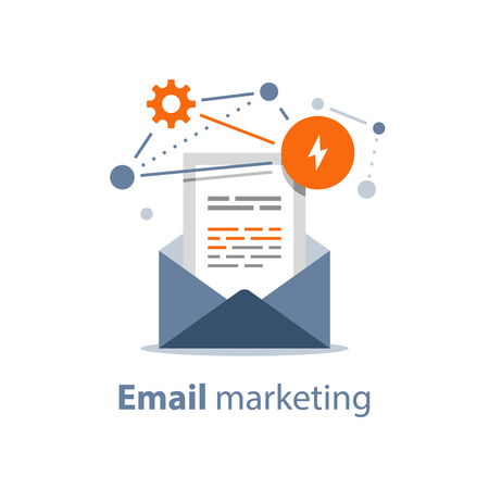 Email marketing strategy, newsletter concept, opened envelope, writing letter, summary news rss services, vector icon, flat illustration