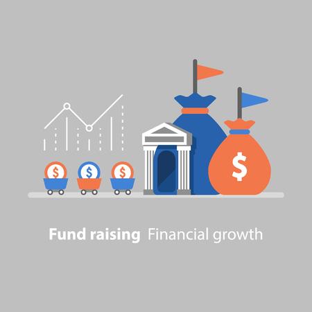 Fund raising, financial growth, vector illustration