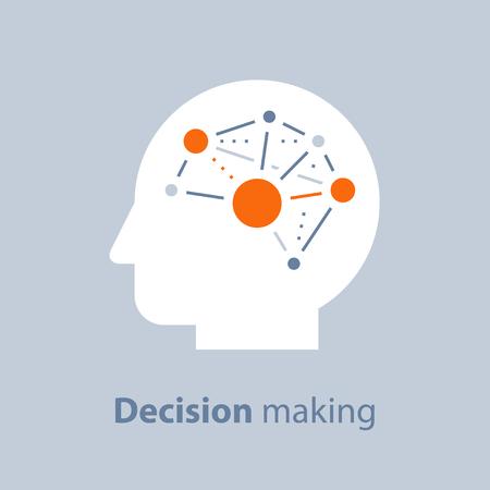 Processo decisionale, intelligenza emotiva, mentalità positiva, psicologia e neurologia, abilità sociali, scienza comportamentale, pensiero creativo, testa umana, concetto di apprendimento, icona di vettore, illustrazione piatta