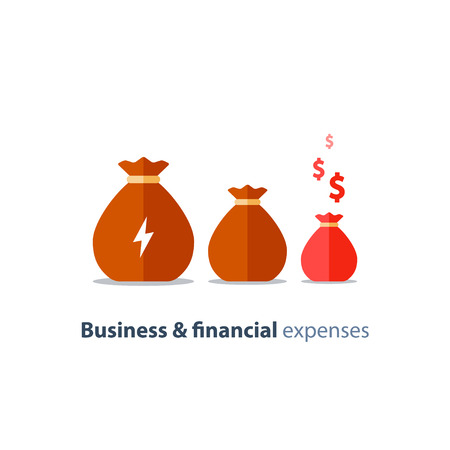 Business and financial expenses concept with money bags with lightning and dollar signs. Vector illustration on white background.