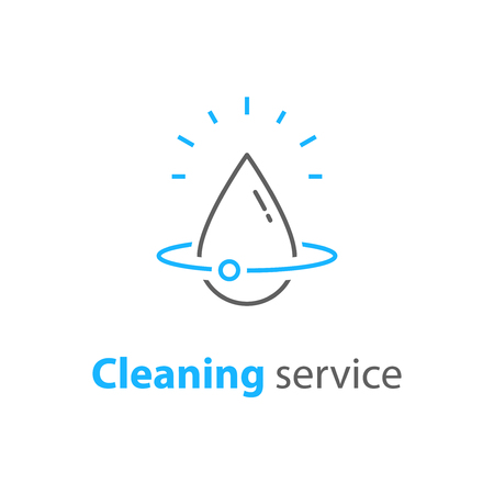 House cleaning services, plumbing repair icon, home hygiene, vector thin line icon