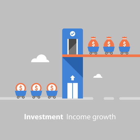 Return on investment, income growth, revenue increase, financial productivity, fund raising concept, evaluation, mutual fund, low risk, business profit, money flow, vector flat illustration Standard-Bild - 96694706