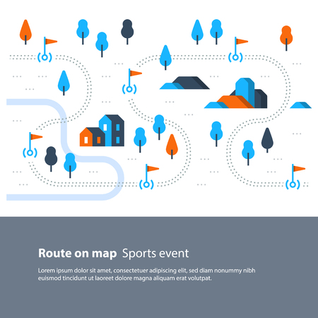 Outdoor sport activity, trail map with flags, countryside landscape, hiking itinerary, vector flat illustration Vettoriali
