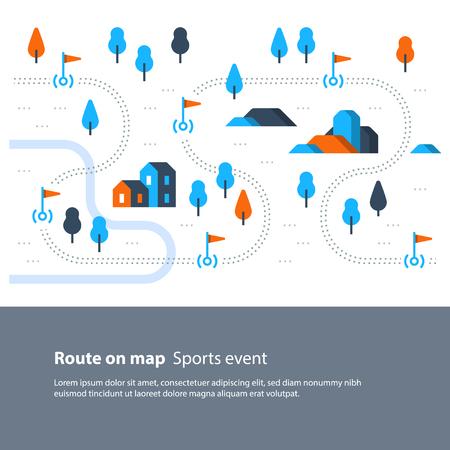 Actividad deportiva al aire libre, mapa de senderos con banderas, paisaje de campo, itinerario de senderismo, ilustración vectorial plana