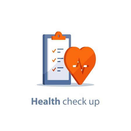 Health check up checklist, cardiovascular disease prevention test, heart diagnostic, electrocardiography service, undergo ecg procedure, medical checkup clipboard, hypertension risk, vector flat icon