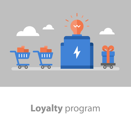Loyalty program, earn points for purchase, reward concept, full shopping cart, redeem gift, vector icon, flat illustration