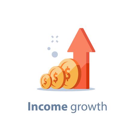 Estrategia de inversión a largo plazo, crecimiento de los ingresos, aumento de los ingresos del negocio, retorno de la inversión, recaudación de fondos, cuenta de ahorro de pensiones, informe de mejora financiera, más dinero, alta tasa de interés, icono de vector Ilustración de vector