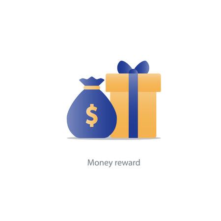 Reward gift box icon, bonus money concept, sale discount program, win points vector illustration