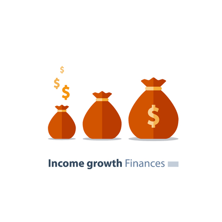 Capital evaluation, future income growth, ascending money bags, return on investment increase, break even concept, time is money, pension fund savings, superannuation, fundraising vector flat icon