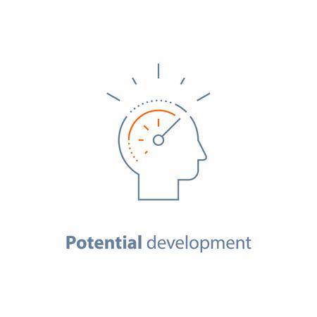 Potential development concept, head line icon, personal growth, vector thin stroke Illustration