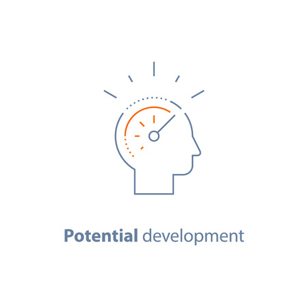 Potential development concept, head line icon, personal growth, vector thin stroke Vettoriali