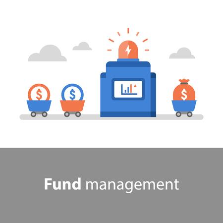Gestione del fondo, utile sul capitale investito, raccolta fondi, valutazione del rischio, analisi finanziaria, dati di borsa, aumento del reddito, crescita degli utili, tasso di interesse, fondo comune di investimento, capitale di rischio Vettoriali