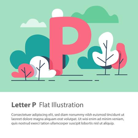 Letter P in floral background, park trees, decorative alphabet character, simple font, education concept, vector flat design, minimalist illustration.