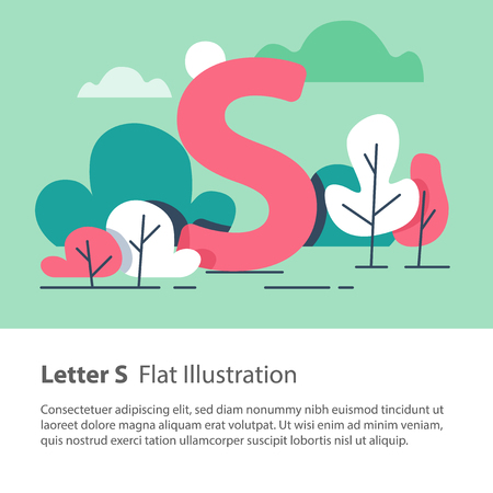 Letter S in floral background, park trees, decorative alphabet character, simple font, education concept, vector flat design, minimalist illustration