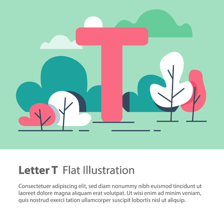 Letter T in floral background, park trees, decorative alphabet character, simple font, education concept, vector flat design, minimalist illustration