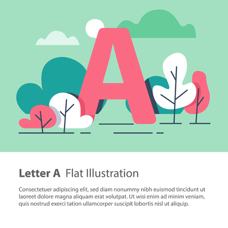 Letter A in trees background illustration