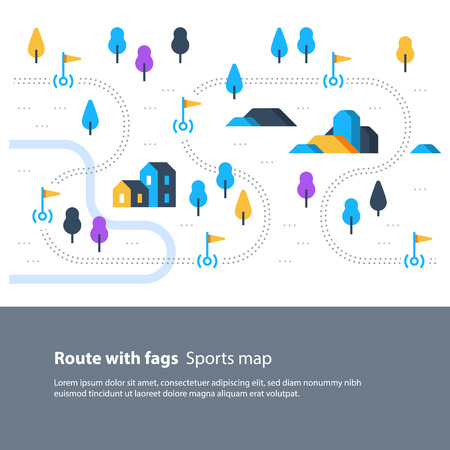 Outdoor sport activity, trail map with flags, countryside landscape, hiking itinerary, vector flat illustration Vectores